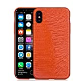 KEBE Lizard Leather Luxury Case Lightweight Hardshell Back Shockproof Cover Case for IPhone X 5.8 Inch Orange
