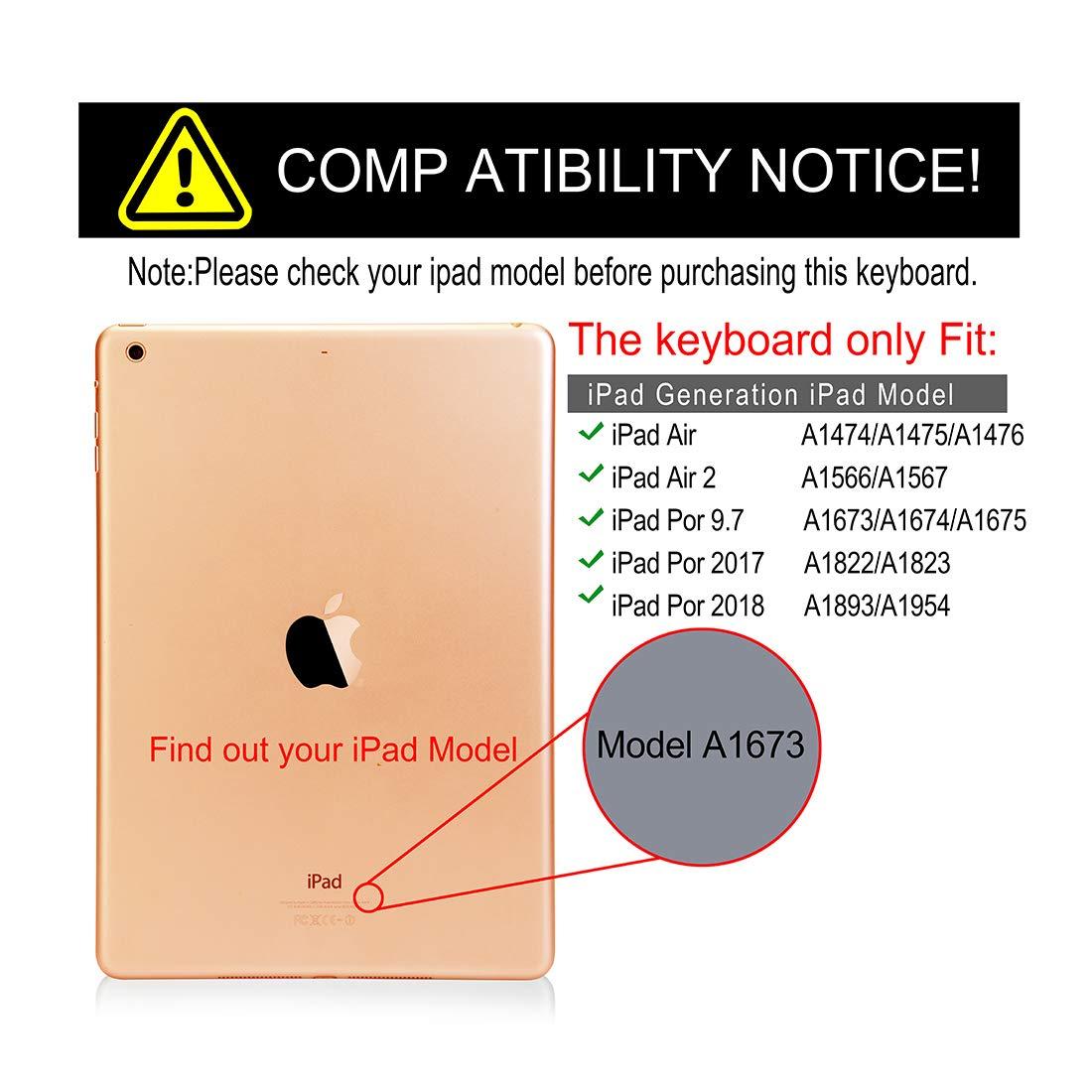 iPad Keyboard Case 6th Generation Also for iPad 2017 5th Gen iPad ...