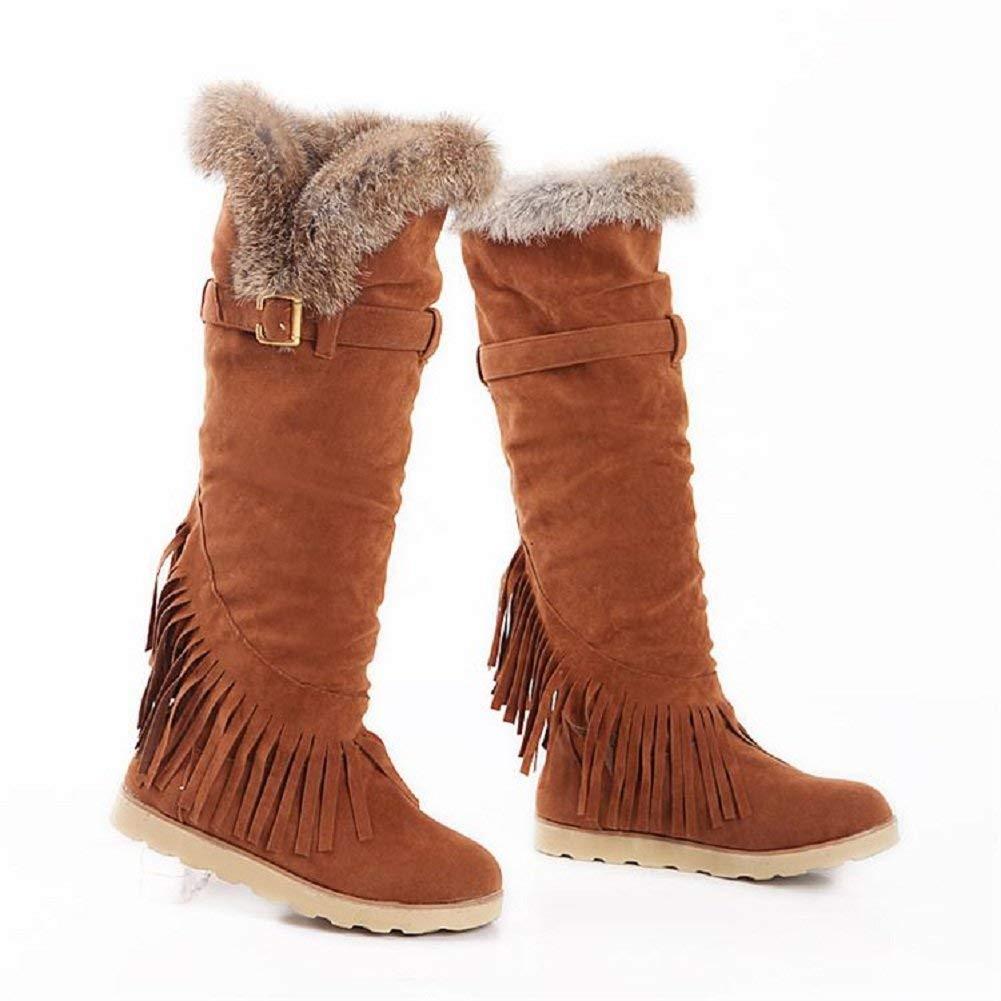 Wallhewb Women Low Heel Snow Boots Black Velvet Girls Soft Pants Anti-skit Short Boots Tassels Joker Comfortable No Griding Feet Dress Fashion Warm Breathable Apricot 6.5 M US Snow Boots