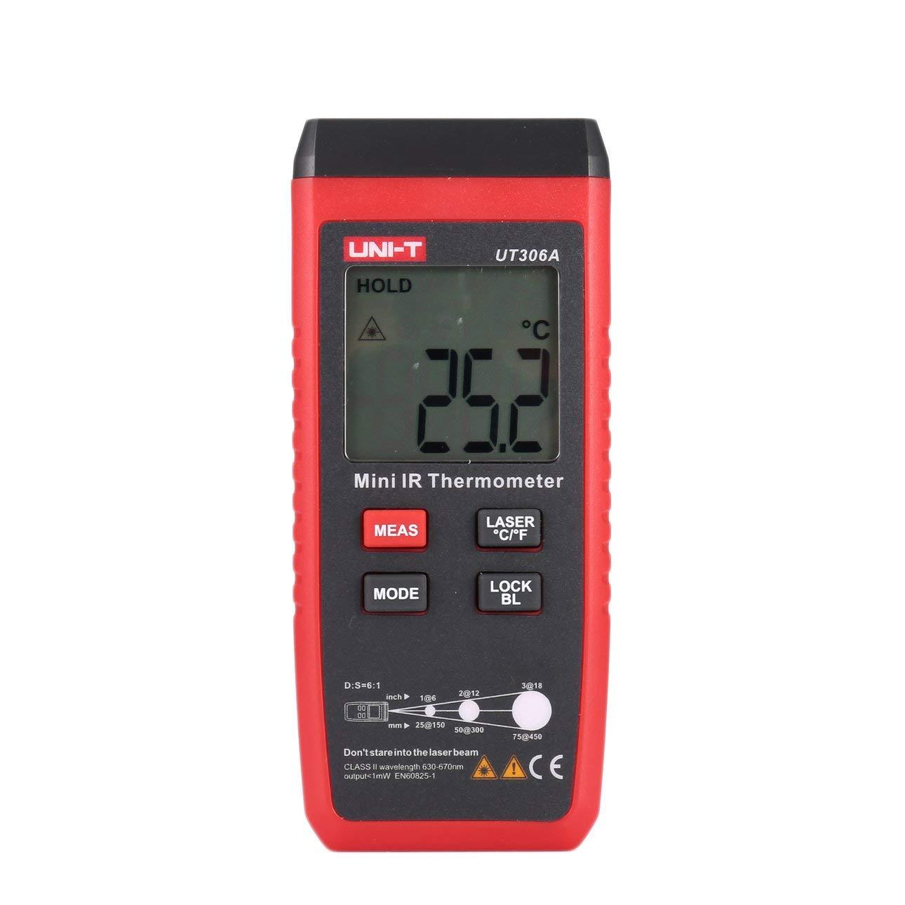 UNI-T UT306A Mini Digital LCD Termometro a infrarossi Temperatura Meter C/F Pirometro Laser rosso Senza contatto IR Industrial di Ballylelly