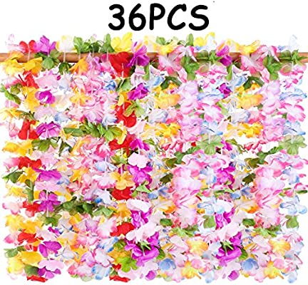 ac5f21c5da1 jollylife 36PCS Hawaiian Luau Leis Necklaces - Tropical Hibiscus Flowers  Tiki Summer Pool Party Favors Supplies