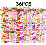 36PCS Hawaiian Luau Leis Necklaces - Tropical Hibiscus Flowers Tiki Summer Pool Party Favors Supplies Decorations