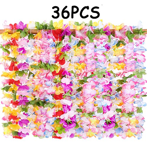 Tropical Flowers Centerpieces - 36PCS Hawaiian Luau Leis Necklaces - Tropical Hibiscus Flowers Tiki Summer Pool Party Favors Supplies Decorations