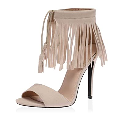 1d408f67efed SAUTE STYLES Ladies Womens Cut Out High Heel Ankle Fringe Tassel Gladiator  Sandals Shoes Size  Amazon.co.uk  Shoes   Bags