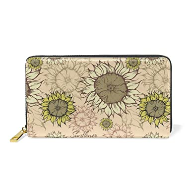 Field Of Sunflowers Vector Leather Wallet Slim Long Ladies Elegant ...