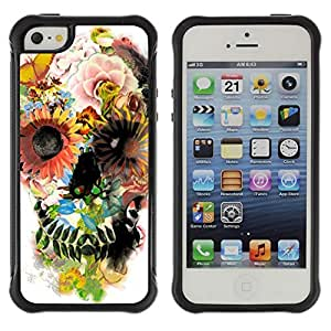 Hybrid Anti-Shock Defend Case for Apple iPhone 5 5S / Colorful Flowers