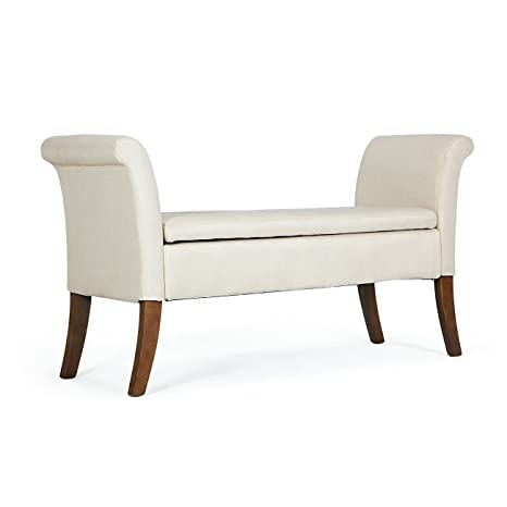 Swell Belleze Modern Upholstered Storage Bench Settee Living Room With Armrest Button Tufted Wood Legs Beige Uwap Interior Chair Design Uwaporg
