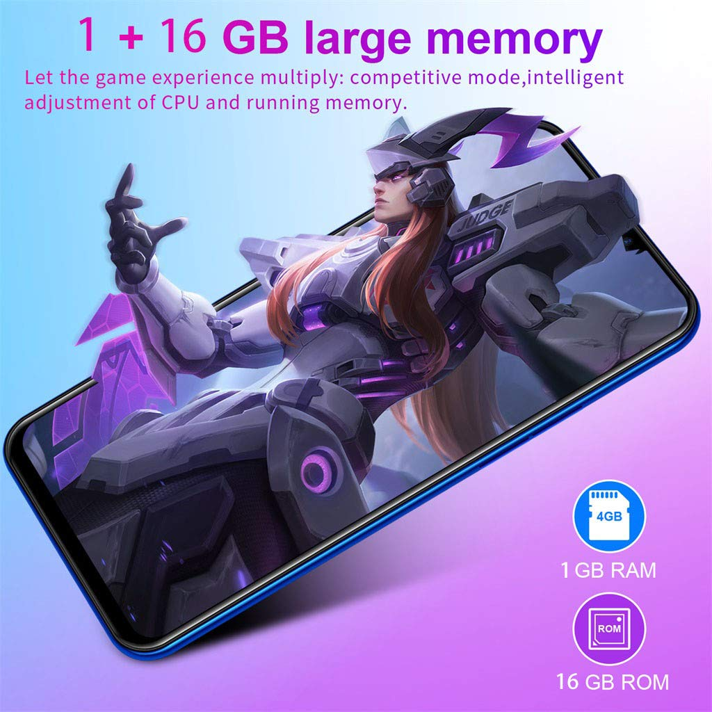 NDGDA Eight Core 6.3 inch Dual HD Camera Smartphone Android 8.1 16GB Touch Screen WiFi Bluetooth GPS 3G Call Mobile Phone (Blue) by NDGDA Smart Phone (Image #4)