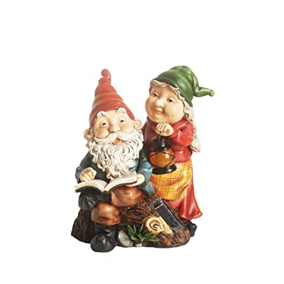 """Northlight 11.5"""" Reading Forest Gnome Couple w/Solar Powered LED Lighted Lantern Outdoor Patio Garden Statue : Garden & Outdoor"""