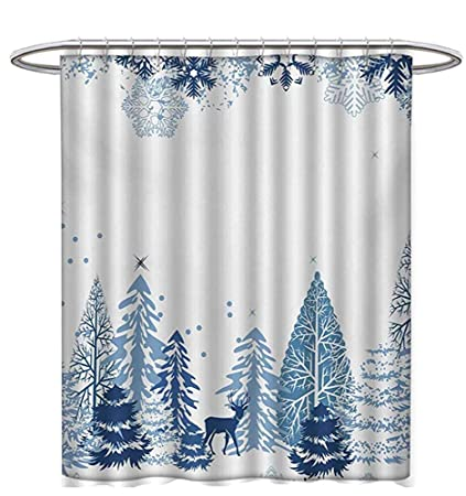 Winter Shower Curtains Sets Bathroom Scene Deer Frozen Trees Snow Christmas Season Pine Bushes