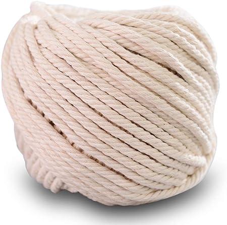 SUNTQ Cordón de macramé Algodón de poliéster trenzado de 4 hilos 4mm x 100m Cuerda de algodón suave para colgar plantas artesanales Colgar artesanías, decoración de tejer, hilo de algodón Beige: Amazon.es: