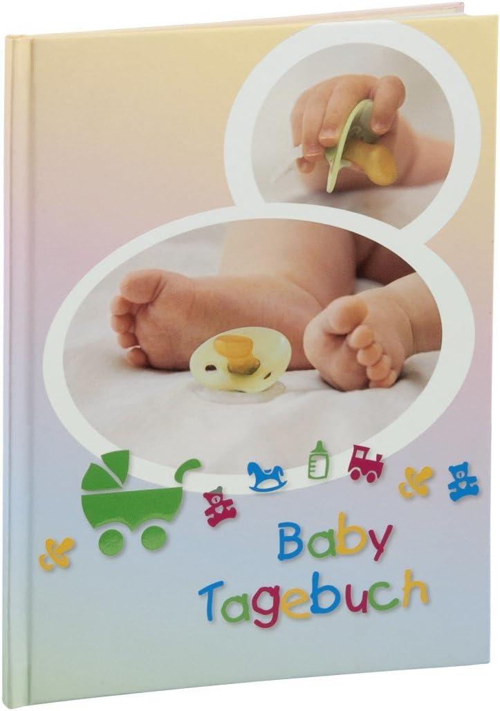 Hama Baby Tagebuch Baby Feel f/ür Jungen und M/ädchen Sand Album 20,5 x 28 cm, Babytagebuch mit 44 illustrierten Seiten