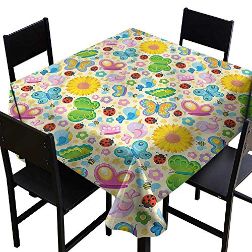 (home1love Nursery Tablecloth for Kids/Childrens Spring Flowers Bugs Resistant/Spill-Proof/Waterproof Table Cover 60 x 60 Inch)