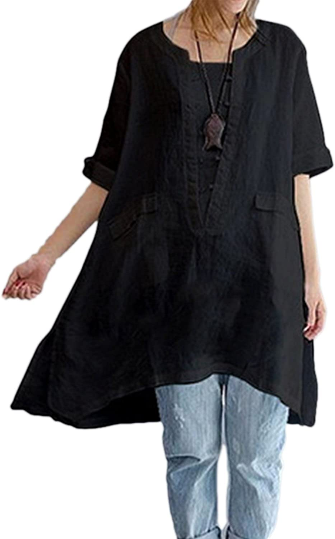 Zilcremo Women Cotton Linen Blouse Dress Loose Boho Shirt Tunic Tops Plus  Size