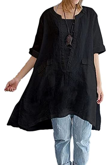 d8d3ef3996f Zilcremo Women Cotton Linen Blouse Dress Loose Boho Shirt Tunic Tops Plus  Size Black2 S