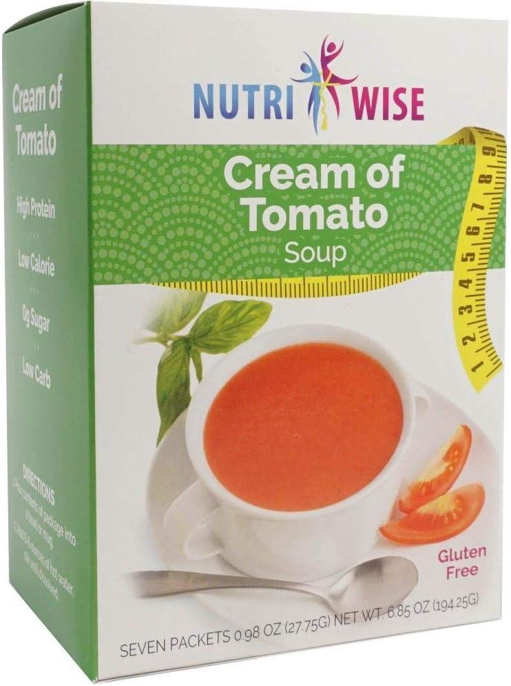 NutriWise - Cream of Tomato Soup   Healthy Nutritious Diet Entrée   High Protein, Low Calorie, Low Carb, Low Fat (7/Box)