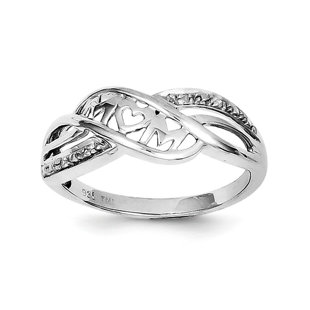 8ef742218f393 Sterling Silver Rhodium Plated Diamond Heart Mom Ring (Color HI, Clarity  SI2-I1)