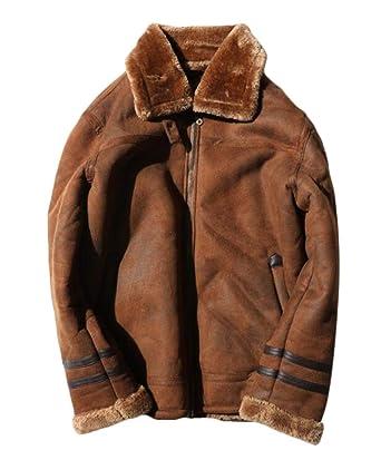 ce4ce14e8 Fllay Men Outwear Faux Suede Bomber Fleece Linen Zip-Up Warm Jacket ...