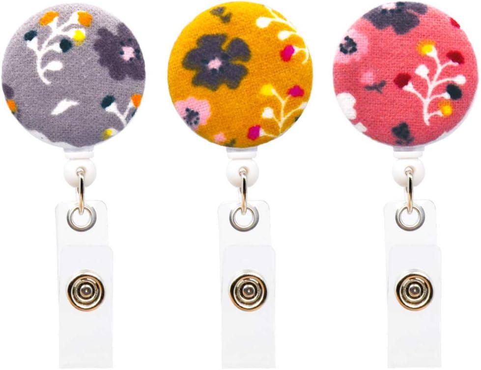 Flower Lanyard Flower Button Reel Retractable Badge Holder FLOWER Fabric Badge Reel