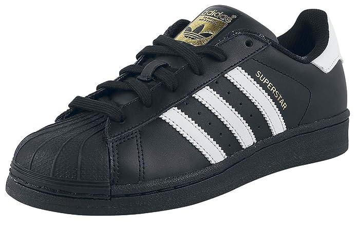 adidas Superstar Foundation Sneaker Unisex-Erwachsene Low-Top Schwarz mit weißen Streifen