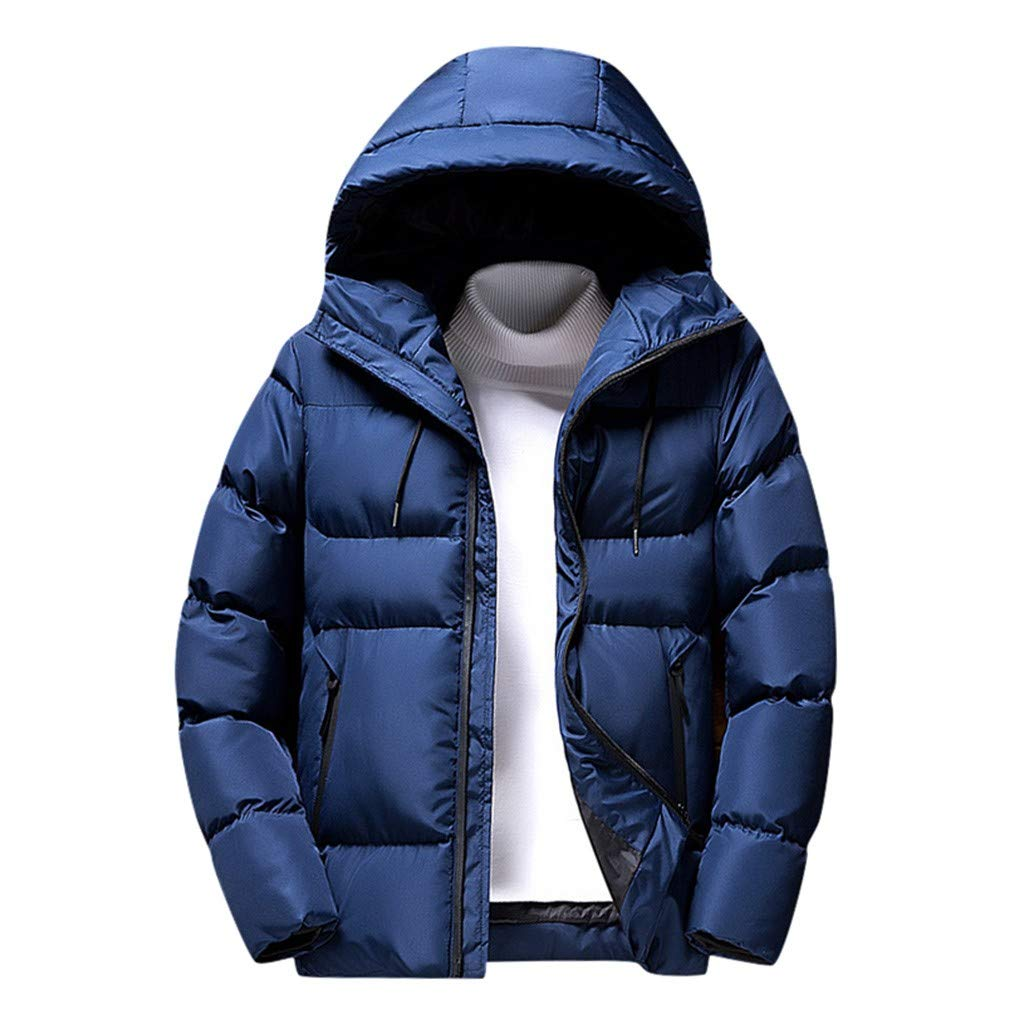 Dermanony Men's Casual Cotton-Padded Jacket Winter Warm Solid Color Zipper Hooded Pockets Coat Active Puffer Jacket by Dermanony _Coat