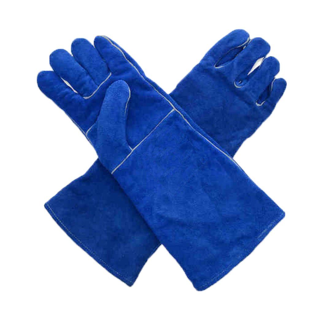 Yxsd Welding Gloves Welders Gauntlets Fireplace Gloves High Temperature BBQ Stove Long Lined Fire Safety Gloves Working Gloves Heat Resistant