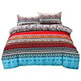 Boho Duvet Cover- Cotton Duvet Cover, Twin Bohemia Bedding 2 Pieces Red