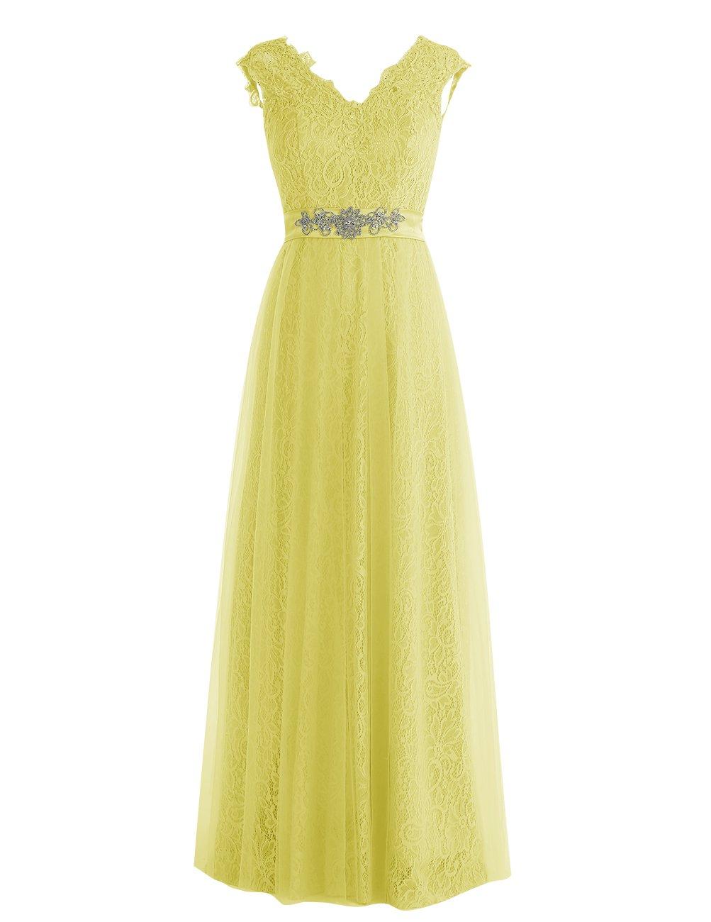 Dresstell レディーズ ロング丈 披露宴ドレス 結婚式ドレス 総レースのお呼ばれ フォーマルドレス キラキラビジュー付き ビスチェタイプ 編み上げの花嫁ワンピース 二次会ドレス ステージドレス B01LY7QTQ6 JP15|イエロー イエロー JP15