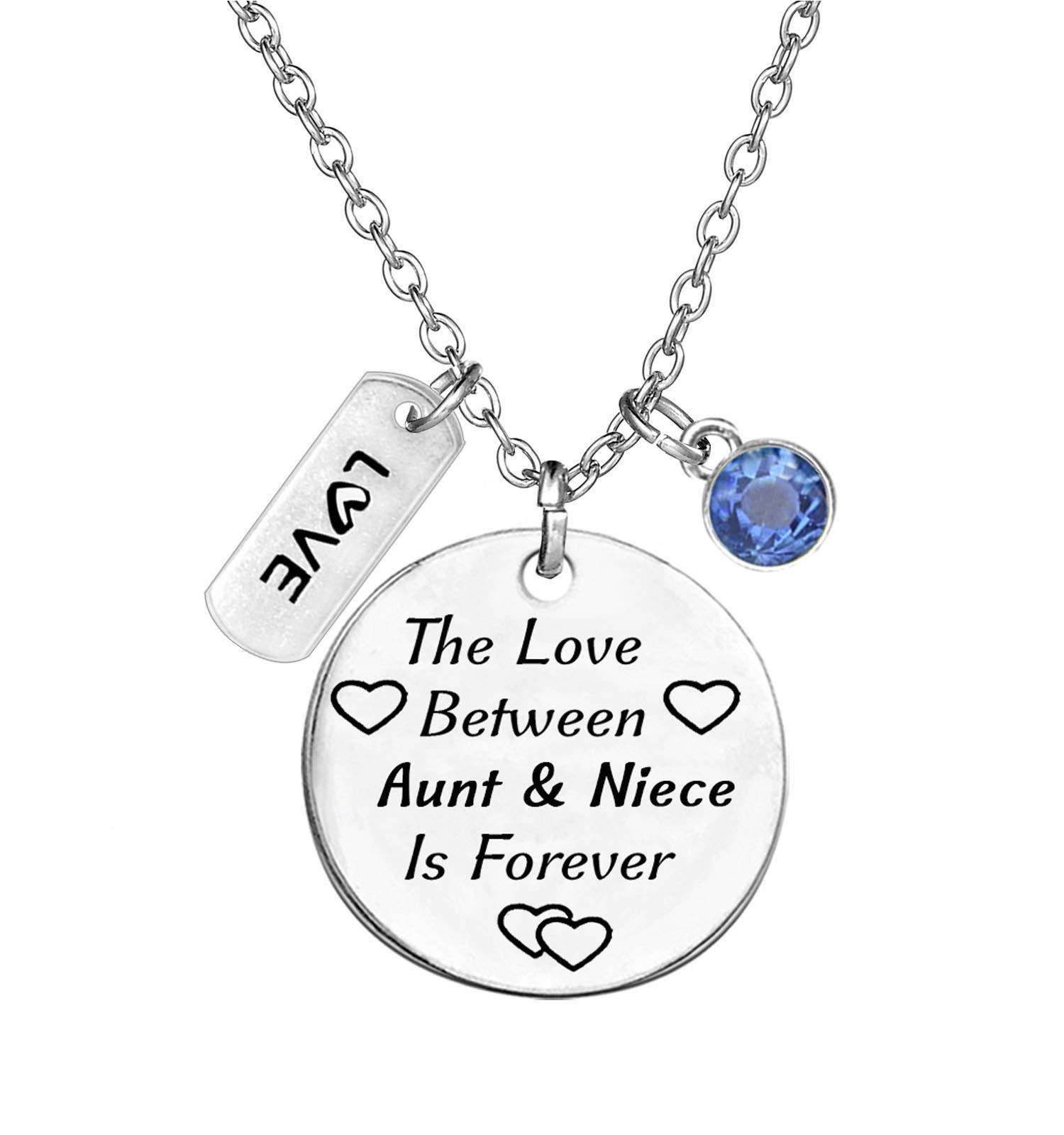 TISDA Birthstone Crystals Necklace,The Love between Aunt and Niece is Forever Necklace Family Jewelry Christmas Gift (December)