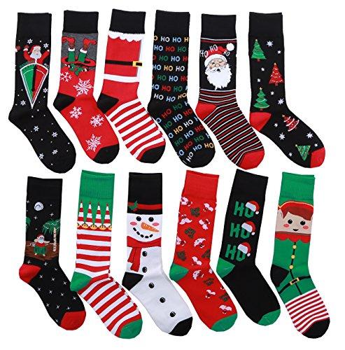 12 Pairs Unisex Premium Cotton Christmas Pattern Dress SocksBL (For Christmas Mens Socks)