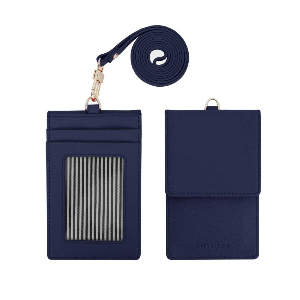 Genuine Leather Credit Card Holder Wallet with Mirror ID Badge Case with Neck Strap Navy