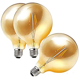 ougeer 3 LED Bombilla Vintage Edison E27 G125 Globe Bombilla de bajo consumo 220 V 4