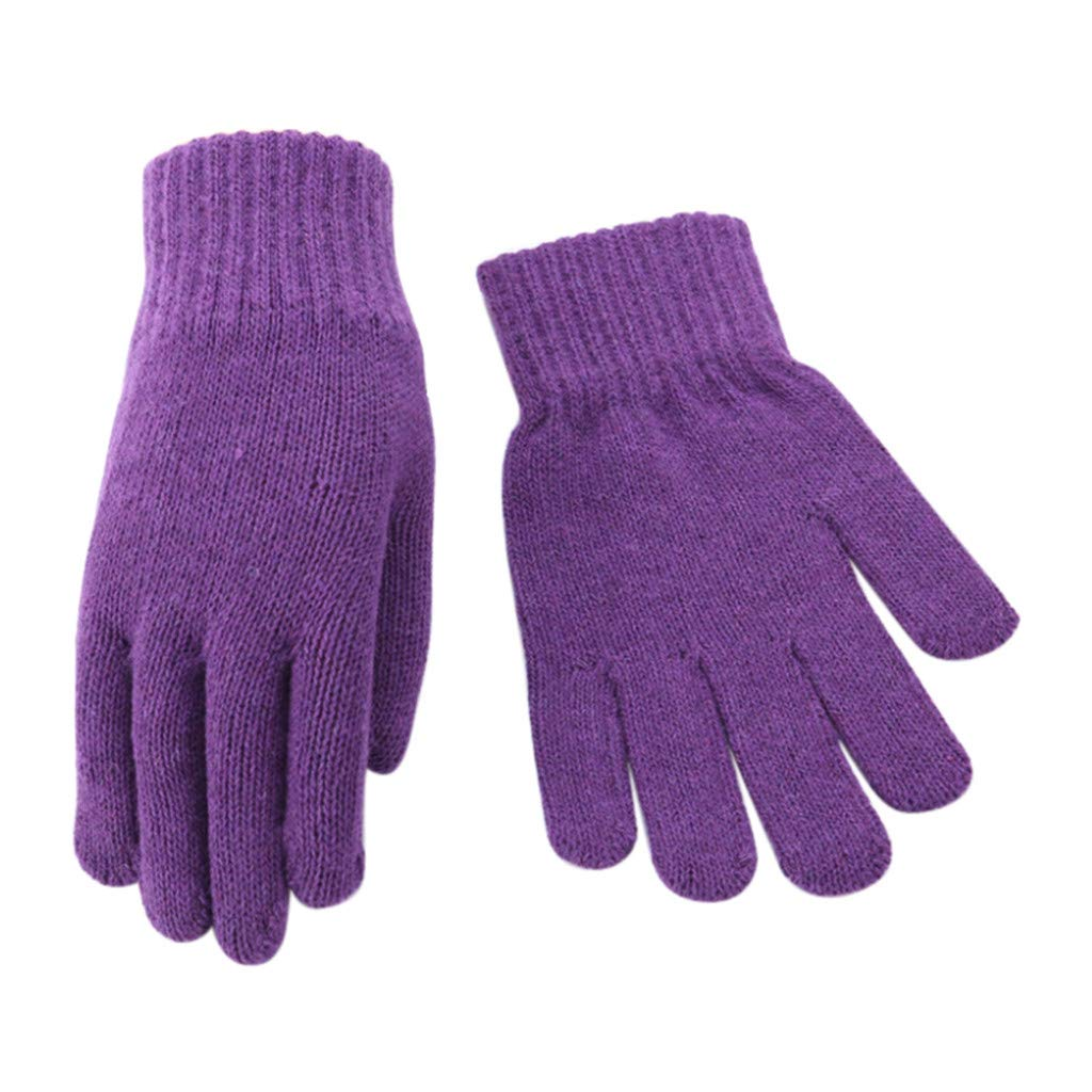 Wensy five-finger ladies' gloves plus velvet thickening points refer to knitted solid color to keep warm