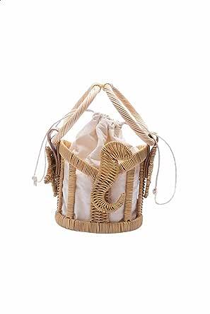 Dalydress Dare Straw Circular Top Handle Drawstring Bucket Bag for Women - Beige