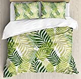 Leaves Comforter Set,Tropical Exotic Palm Tree Leaves Natural Botanical Spring Summer Contemporary Graphic Bedding Duvet Cover Sets For Boys Girls Bedroom,Zipper Closure,4 Piece,Green Ecru Twin Size