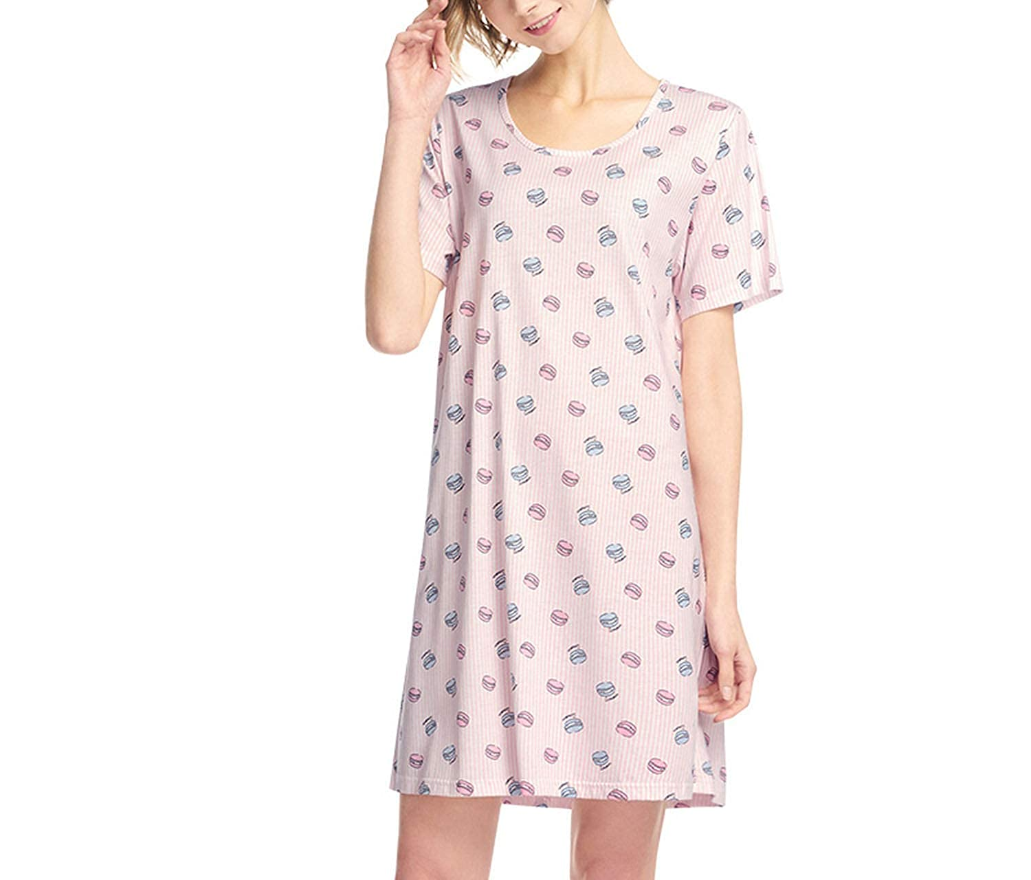 Macaron1 Blouses HeatTracing Womens Sexy Sleepshirts Nightdress Cotton Printed Fashion Straps Cute Floral Casual Camisole