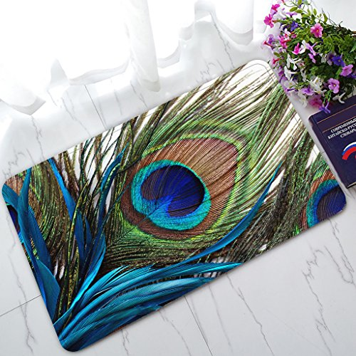 Custom Peacock Non-Slip Doormat Indoor/Outdoor/Bathroom Doormat 30 x 18 Inches
