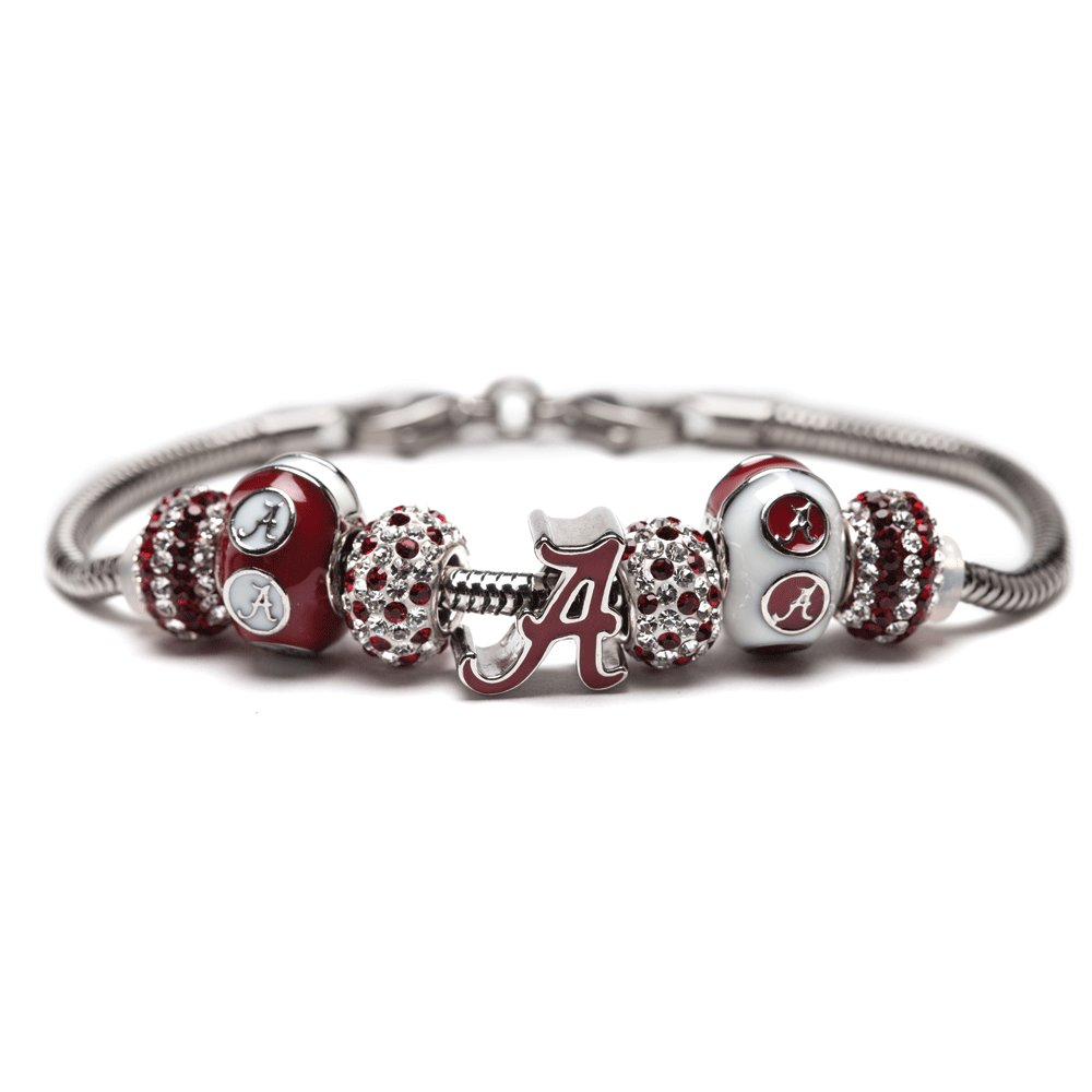 University of Alabama Charm Bracelet | Crimson Tide Gifts | Stainless Steel Alabama Jewelry | Alabama Logo Charm Bracelet by Stone Armory (Image #1)