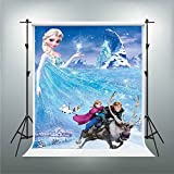 GESEN Disney Cartoon Anime Backgdrop 5X7ft Elsa Anna Princess Prince Riding a Deer Photography Backdrop Children Photography Background You Tube Background TMGE036