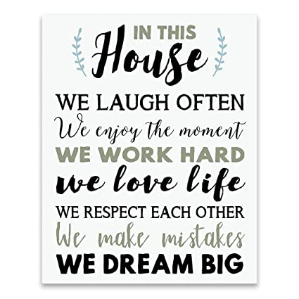 Artissimo Designs Inspirational Family Quote: Family- in This House, We  Laugh Often, We Enjoy The Moment. Premium Gallery Wrapped Canvas. Ready to  ...
