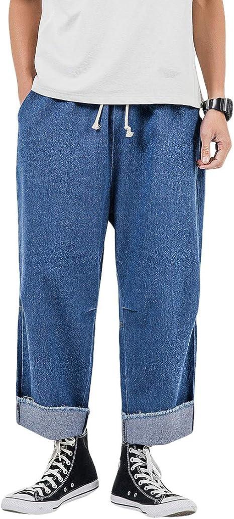[Mirroryou(ミラーユー)] デニムパンツ メンズ ワイドパンツ 男女兼用 調整紐