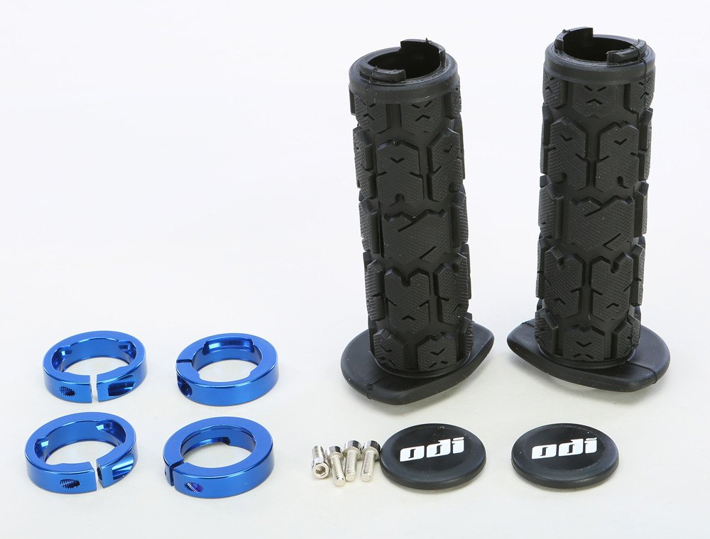 ODI Rogue Lock-on 120mm ATV Grips - Black With Blue Clamps