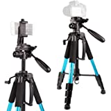 """POLAM-FOTO 55""""/140cm Camera Tripod,Compact Tripod with Bubble Level,Lightweight Tripod with Phone Holder and Carry Bag Included-Blue"""