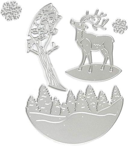 Merry Christmas Deer Cutting Dies Scrapbooking Die Cuts Embossing Stencils Tool