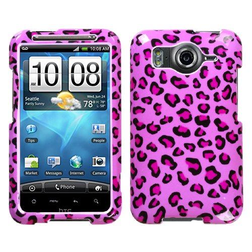 Pink Leopard Skin Phone Protector Faceplate Cover For HTC Inspire 4G