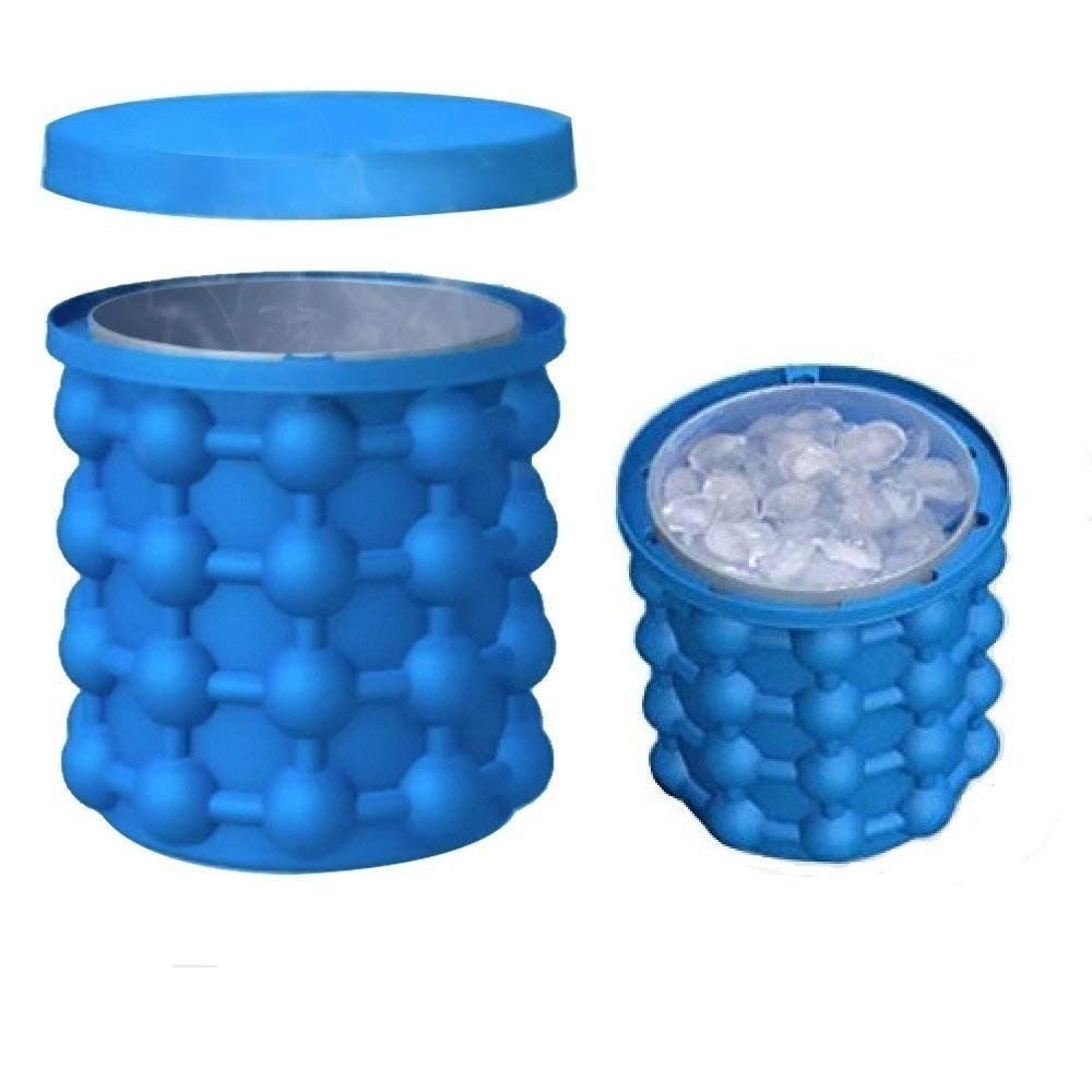 HORUS Large 2 in 1 Silicone Ice Bucket & Ice Mold with lid,Silicon Ice Cube Maker Genie, Portable Silicon Ice Cube Maker (Blue)