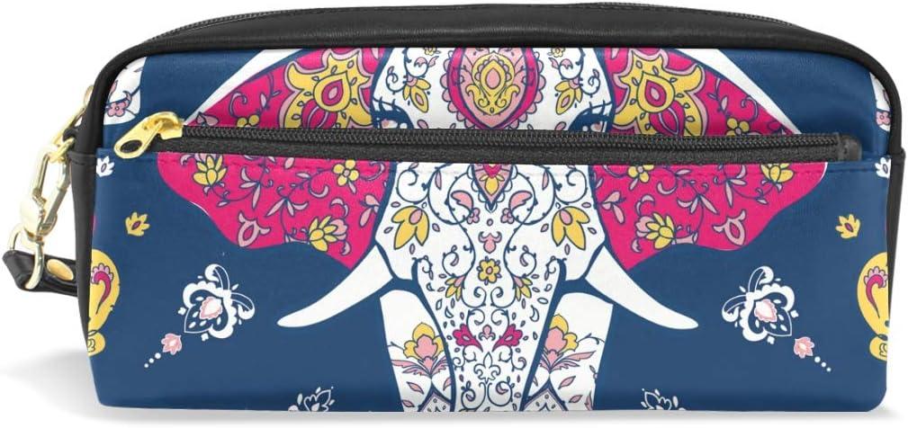 Estuche de piel con diseño de elefante étnico para lápices, con compartimentos, para la escuela de niños, mujeres, cosméticos, bolsas pequeñas: Amazon.es: Oficina y papelería