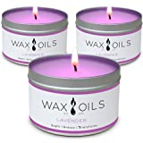 Wax and Oils Soy Wax Aromatherapy Scented Candles, Lavender, 8 oz (Pack of 3)
