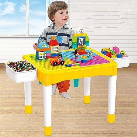 Los niños juegan Tabla Puzzle infantil Compatible Tamaño del edificio bloques montados mesa de estudio de almacenamiento de tablas Tabla Set de juegos for niños de mesa Niños muebles de la sala: