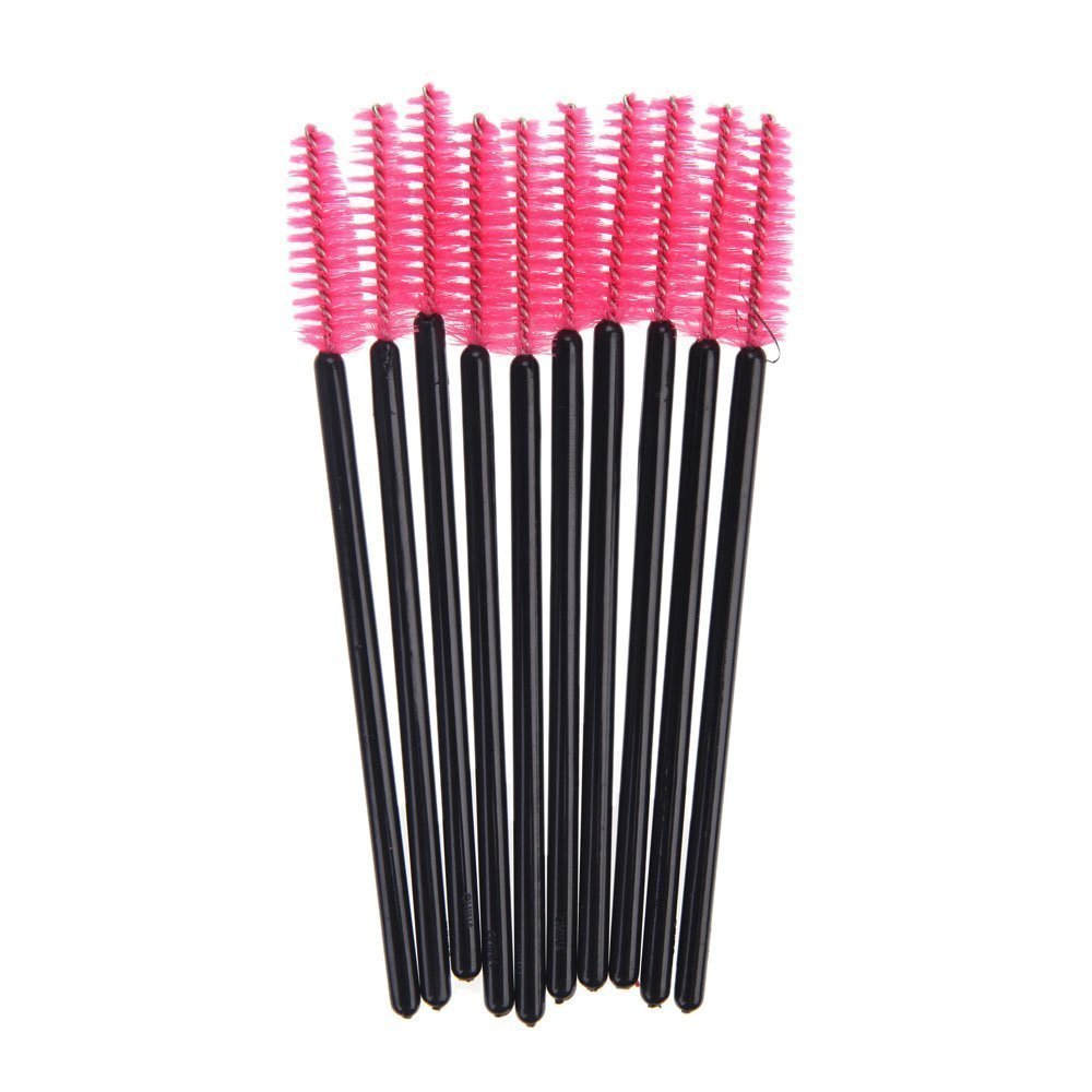 SODIAL(R) 100 Disposable Mini Eyelash Brush Mascara Wands Eyelash Makeup High Quality Pink 055313
